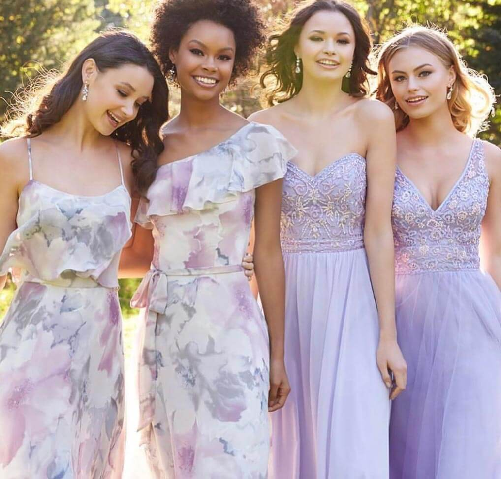 Bridesmaids wearing Morilee Gowns